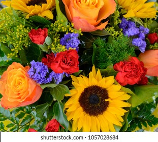 bouquet of flowers red pink yellow