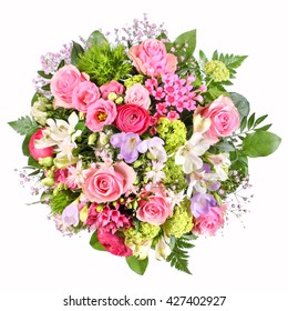 Bouquet of flowers with roses, freesia and ranunculus