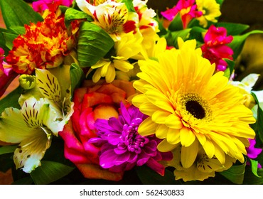 bouquet of flowers roses gerbera flowers carnations