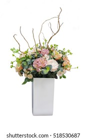 bouquet of flowers in a square vase