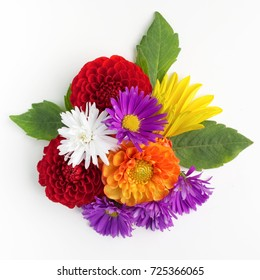 Bouquet of flowers top view isolated on white background