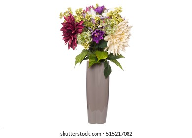 Bouquet of flowers in a vase isolated on the white background