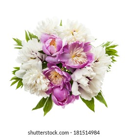 Bouquet of fresh peony flowers isolated on white background from above