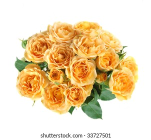 Bouquet of fresh roses of yellow color.