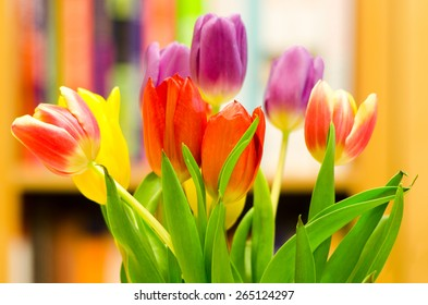 A bouquet of fresh spring tulips, with blurred bookshelves in the background.