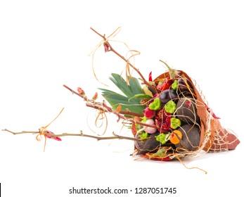 Bouquet of fruits and flowers. Edible arrangements, edible fruit vegatable bouquet
