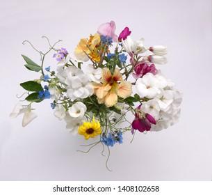 Bouquet of garden flowers - nasturtium, geranium, sweet pea, ixia, on white background