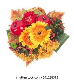 bouquet of gerbera daisy flowers and  chrysanthemums