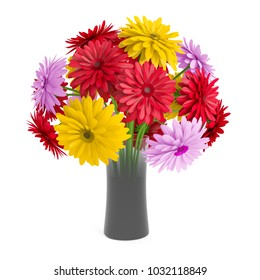 Bouquet of gerbera flowers planted white ceramic pot isolated on white background. 3D Rendering, Illustration.