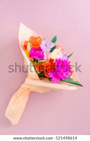 Bouquet Handmade Paper Flowers Tissue Paper Stock Photo (Edit Now ...