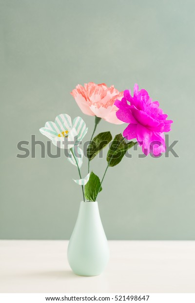 Bouquet of handmade paper flowers in a vase & Bouquet Handmade Paper Flowers Vase Stock Photo (Edit Now) 521498647