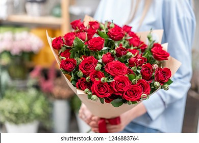 bouquet in the hands of a cute girl. garden red spray roses. Color passionately scarlet, Autumn mood