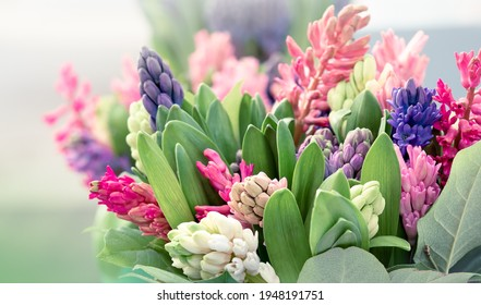 Bouquet of hyacinths flowers with buds and geen leaves in pastel colors, selective focus. Floral composition of fresh multicolored spring flowers in a floristry shop, close up.