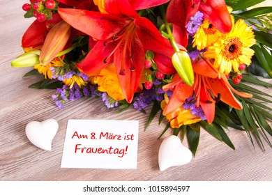 Bouquet with label on March 8 is Women's Day