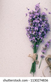 Bouquet of lavender on the table with space for text, top view