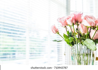 Bouquet of light bright pink roses macro closeup with blinds on window and sunlight, glass vase on kitchen room table
