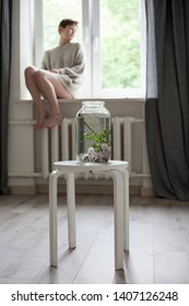 the bouquet of lilac twigs in a transparent green jar on the white chair as a decoration of interior. The girl sits on the window