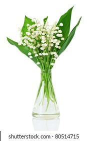 Bouquet of lilies of the valley on white background