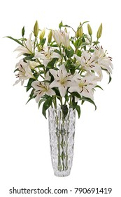 Bouquet of lilly flowers in glass vase