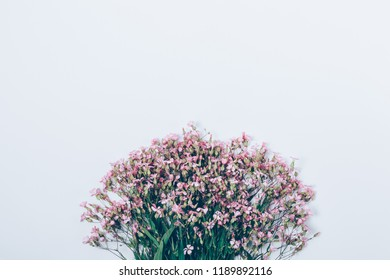 Bouquet of little pink flowers placed in the bottom of white background, top view. Floral flat lay arrangement of gypsophilia with place for text or design.
