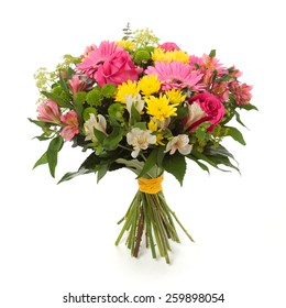 bouquet made of  Alstroemeria, Gerber, Rose and Chrysanthemum flowers isolated on white.