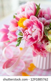 Bouquet made from colorful and bright spring flowers