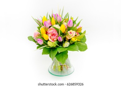 Bouquet made of tulips isolated on a white background