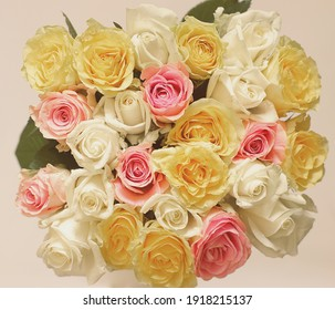 Bouquet of many beautiful multicolored roses.