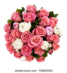 A bouquet of many two color fresh roses isolated on white background, top view