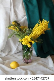 The bouquet of mimosa in vase