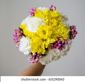 Bouquet mix of chrysanthemum, bouvardia and carnations. - Shutterstock ID 655290043