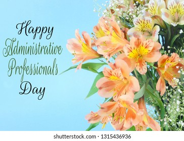 A bouquet of mixed colors of peruvian lillies, Alstroemeria, on a soft pastel blue background. Greeting added for administrative professionals day in April, also known as secretary's day.