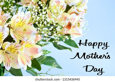 A bouquet of mixed colors of peruvian lillies, Alstroemeria, on a soft pastel yellow background. Greeting added for Mother's Day.