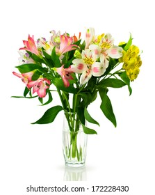 bouquet of multicolored alstroemeria isolated on white