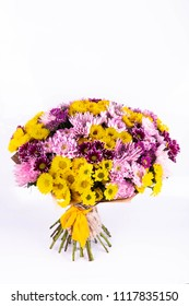 A bouquet from multi-colored chrysanthemums