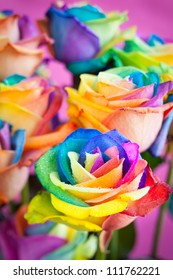 bouquet of multicolored roses (Rainbow rose)