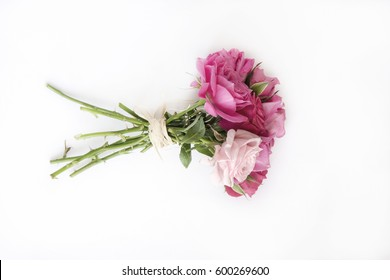 Bouquet of natural roses on white background