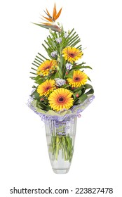 a bouquet of orange flowers in a vase on a white background