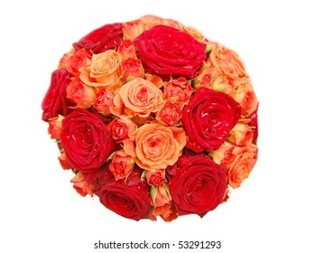 Bouquet of orange and red roses isolated on white