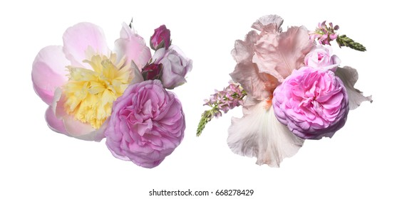 Bouquet with a Peonies and iris on a yellow background.