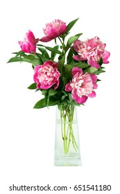 Bouquet of peonies isolated on white background