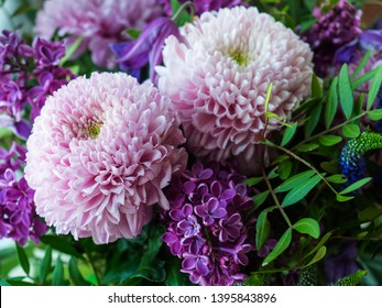 Bouquet of peonies and lilac flowers close-up