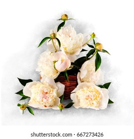 Bouquet of peonies in a wicker basket on a white background