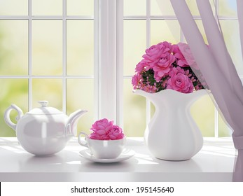 Bouquet of pink flowers (roses) and white service on a windowsill.