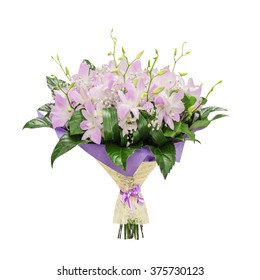 Bouquet of pink orchids, isolated on the white