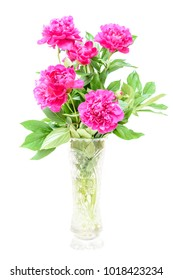 Bouquet of pink peonies on white background