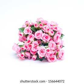 Bouquet of pink rose flowers isolated on white