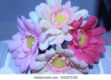 Bouquet of Pink Rose Lavender Flower with Yellow Stamen in a Ash Background