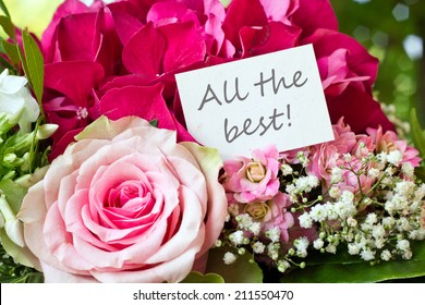 Bouquet with pink rose and lettering all the best/all the best/english