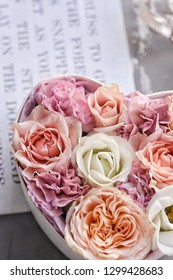 Bouquet of pink roses in the box